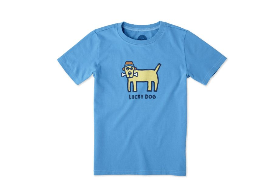 Life is Good Boys Tee Lucky Dog SS, Marine Blue