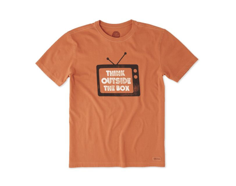 Life is Good M's Crusher Tee Think Outside TV, Ember Orange