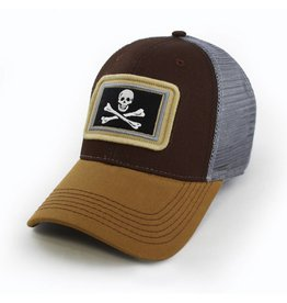 State Legacy Revival Everyday Trucker Hat, Structured, Calico Jack's Jolly Roger Flag, Timber Brown