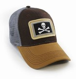 S.L. Revival Co. Everyday Trucker Hat, Structured, Calico Jack's Jolly Roger Flag, Timber Brown