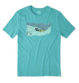 Life is Good Men's Smooth Tee Dawn Patrol Beach, Bright Teal