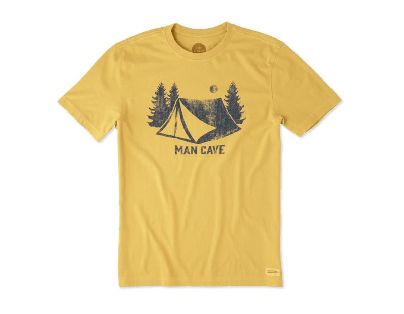 Life is Good Men's Crusher Tee Man Cave Tent, Summer Gold