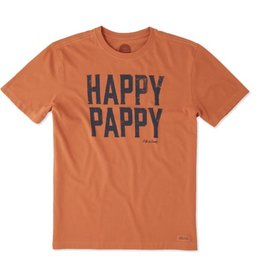 Life is Good Men's Crusher Tee Happy Pappy, Deep Orange