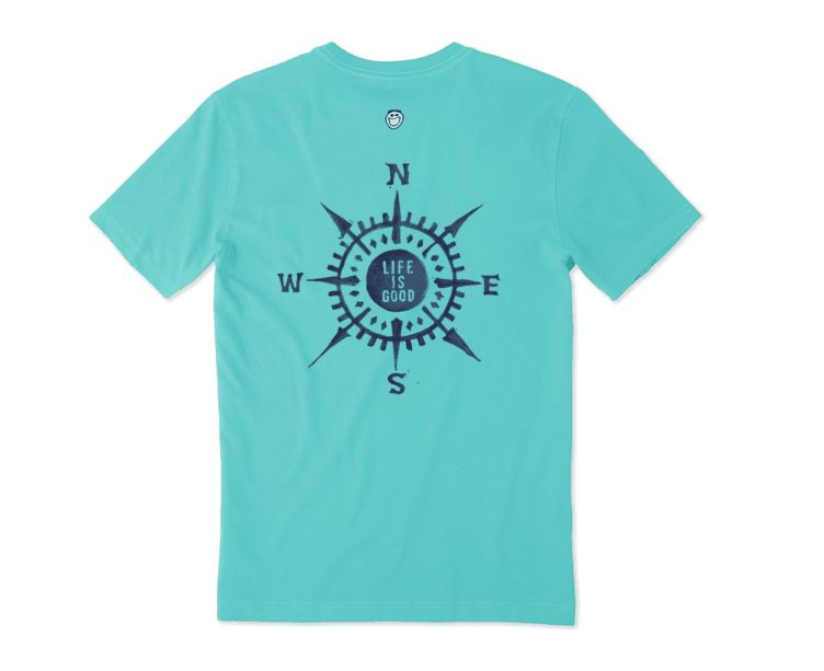 Life is Good Men's Crusher Tee Compass, Bright Teal