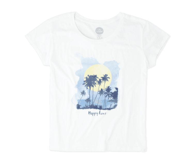 Life is Good W's S/S Breezy Tee Happy Hour Sunset, Cloud White