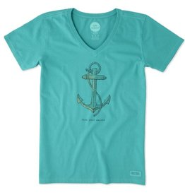 Life is Good W's Crusher Vee Find Your Anchor, Bright Teal