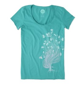 Life is Good W's Smooth Tee Garden Pose, Bright Teal