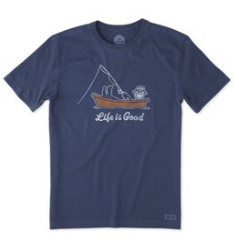 Life is Good M's Crusher Tee Kickback Fish, Darkest Blue