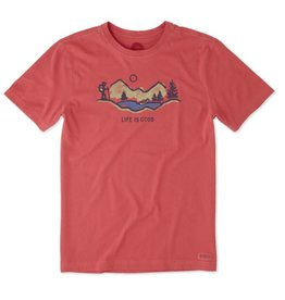 Life is Good M's Crusher Tee Hike Vista LIG, Americana Red