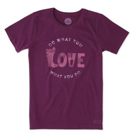 Life is Good W's Crusher Tee DWYL Love Garden, Deep Plum