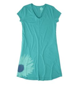 Life is Good W's Easy V-Neck Dr Daisy Painted, Bright Teal