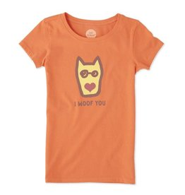 Life is Good S/S Girls Tee I Woof You, Tropical Orange