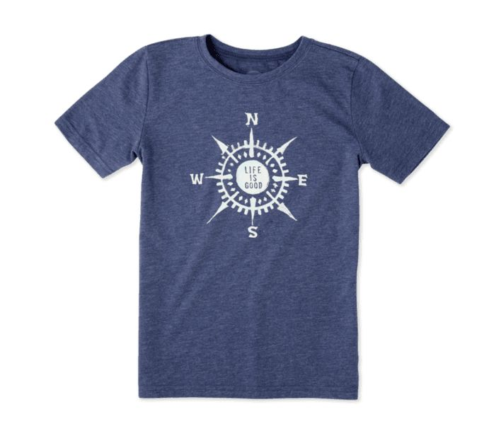 Life is Good S/S Boys Cool Tee LIG Compass Paint, Darkest Blue