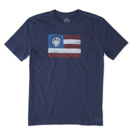 Life is Good M's Crusher Tee Jake Flag, Darkest Blue