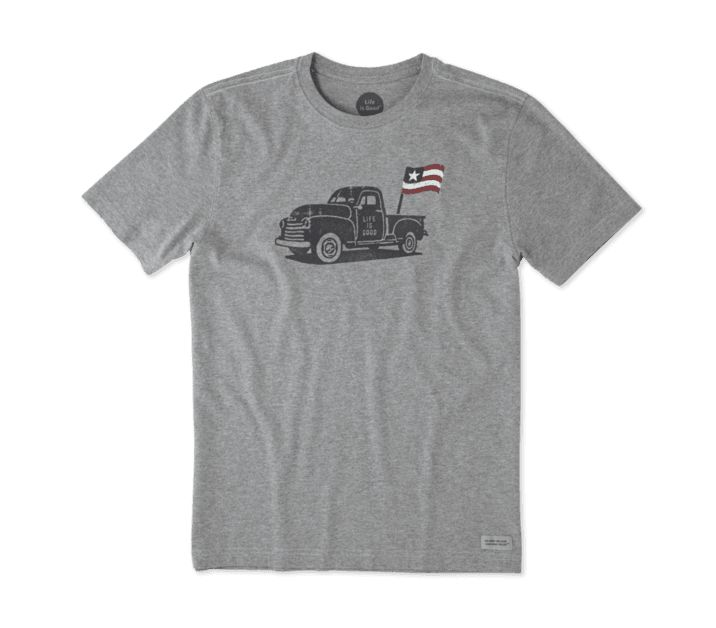 Life is Good M's Crusher Tee Truck Flag, Heather Gray