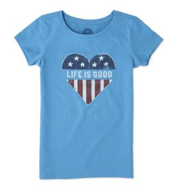 Life is Good S/S Girls Tee LIG Heart Flag, Marina Blue