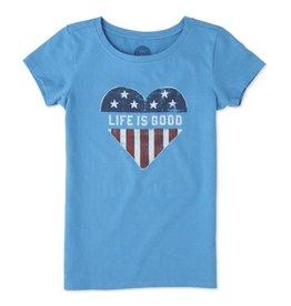 Life is Good S/S Girls Tee LIG Heart Flag, Marina Blue