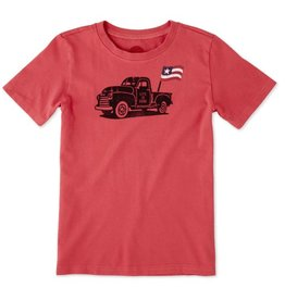 Life is Good S/S Boys Tee Truck Flag, Americana Red