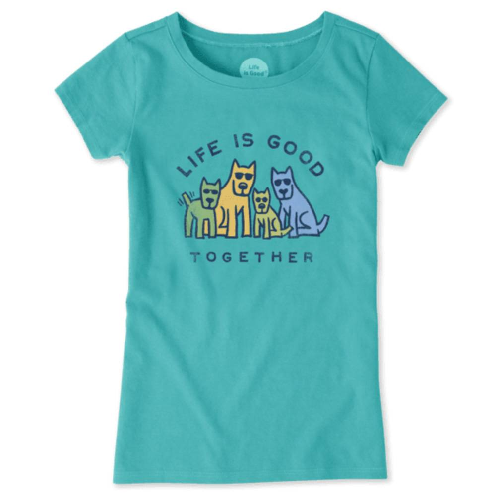 Life is Good Girls Good Together Dog Crusher Tee, Bright Teal