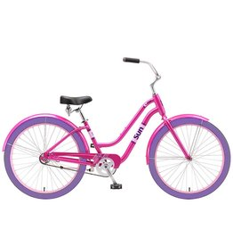 J and B Importers Cruz Women's Alloy Beach Bike w/basket, Pink