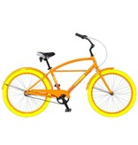 J and B Importers Cruz Men's Alloy Beach Bike w/basket, Orange