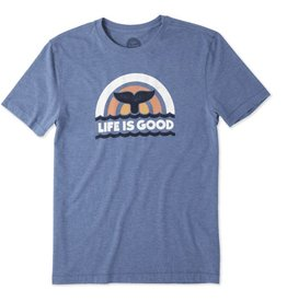 Life is Good Men's Whales Tail Cool Tee, Vintage Blue