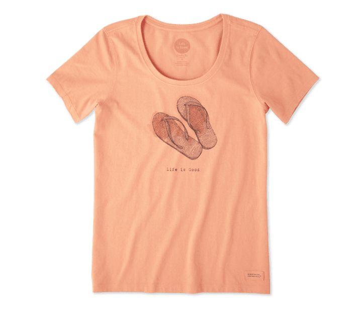 Life is Good Women's Flip Flops Crusher Scoop, Fresh Coral