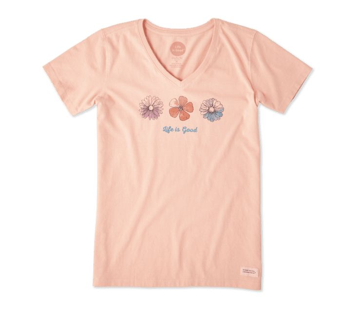 Life is Good Women's Three Flowers Crusher Vee, Chalky Peach