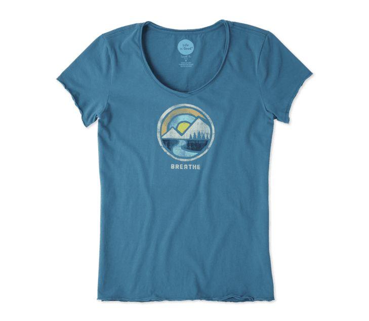 Life is Good Women's Breathe Smooth Tee, Sea Blue