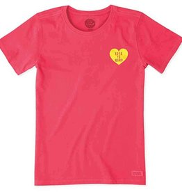 Life is Good W's Crusher Tee Compass Heart, Pop Pink