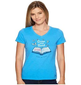Life is Good W's Crusher Vee Grow The Good Book, Tile Blue