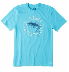 Life is Good Mens Crusher Tee Catch You Later, Vivid Blue