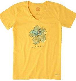 Life is Good W Crusher Vee Good Vibes Hibiscus, Golden Yellow