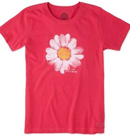 Life is Good W's Crusher Tee Daisy Painted, Pop Pink