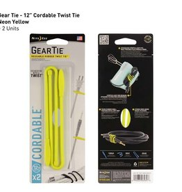 Nite Ize Gear Tie 12in 2 Pack, Neon Yellow