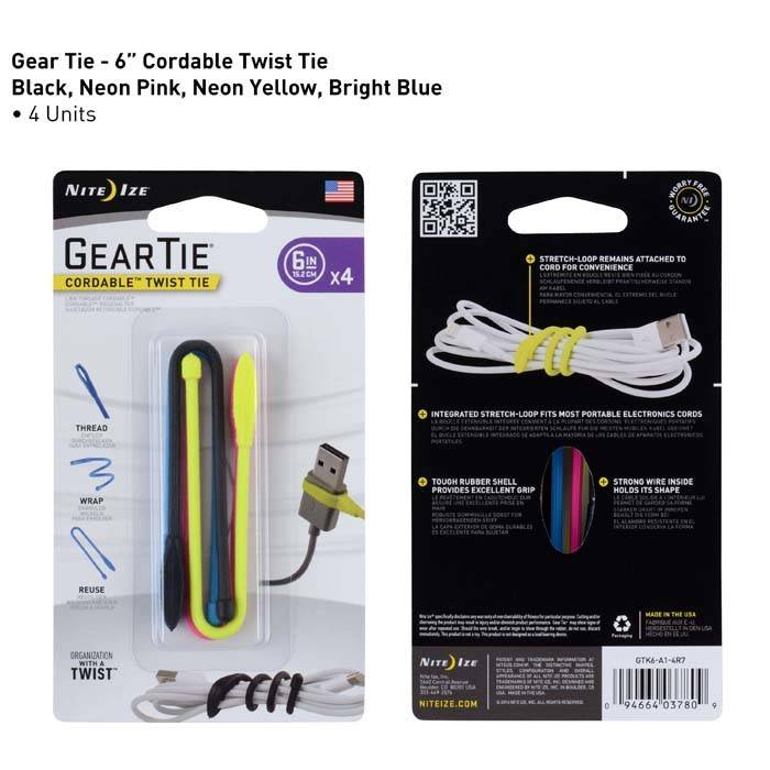 Nite Ize Gear Tie Cordable Twist 6 inch, 4-Pack Assorted