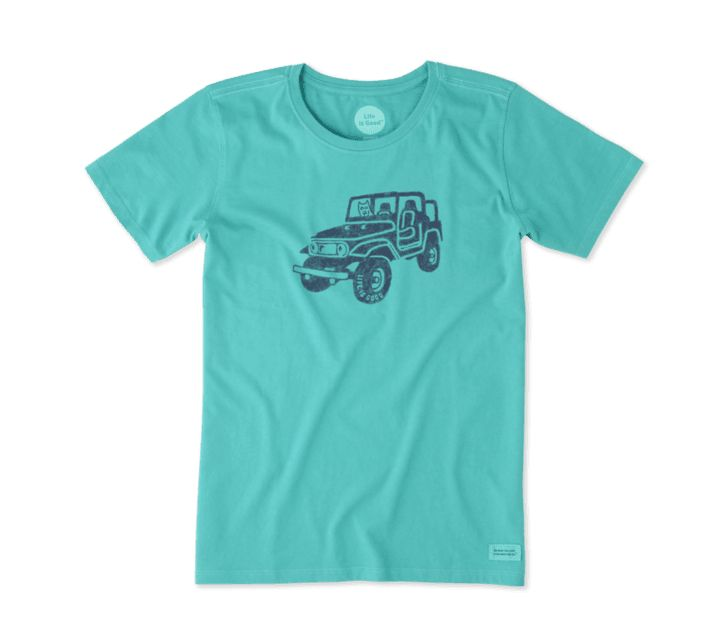 Life is Good Women's Offroad 4X4 Crusher Tee, Bright Teal