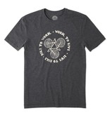 Life is Good Men's Bike Work Live Cool Tee, Night Black