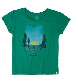 Life is Good W's SS Breezy Tee LIG Meadow Sunset, Jungle Green