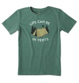 Life is Good Boys Life Can Be In Tents Crusher Tee, Heather Forest Green