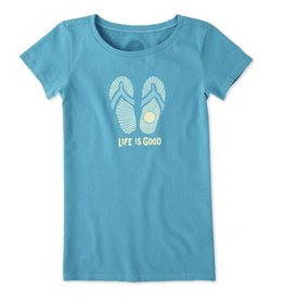 Life is Good Girls Sunray Flip Flops Crusher Tee, Cool Turquoise