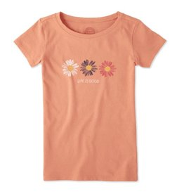 Life is Good Girls Daisies Crusher Tee, Fresh Coral