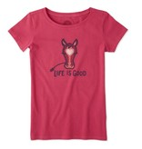 Life is Good Girls Horse Crusher Tee, Pop Pink
