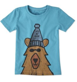 Life is Good Toddlers Happy Bear Crusher Tee, Cool Turquoise