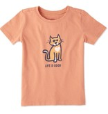 Life is Good Toddlers Cat Love Crusher Tee, Fresh Coral