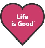 Life is Good Heart Sticker, Pop Pink