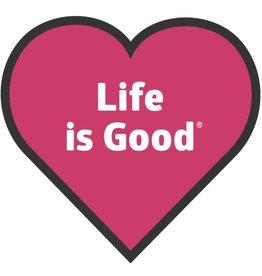 Life is Good Heart Sticker, Pop Pink