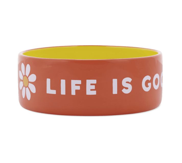 Life is Good 38oz Ceramic Daisy Life Is Good Dog Bowl
