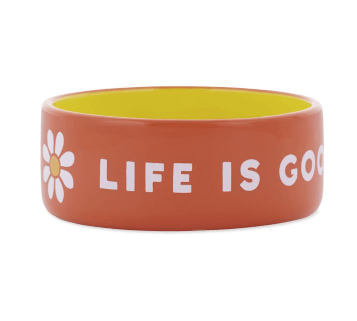 Life is Good 13oz Ceramic Daisy Life Is Good Dog Bowl