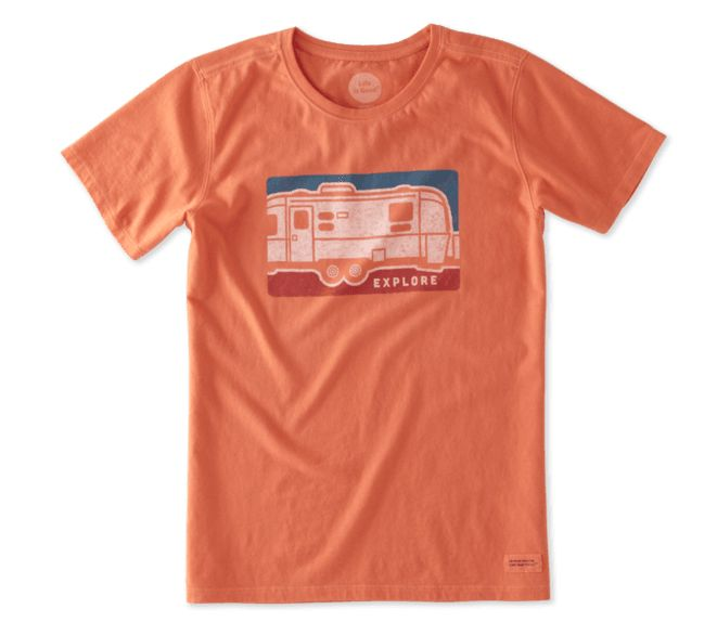 Life is Good Life is Good Womens Crusher Tee Airstream Crayon, Coral Orange